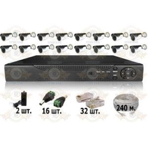 Комплект IP видеонаблюдения из 16 уличных IP камер 3 мп. и видеорегистратора, кабель UTP-240 п.м., блок питания 6А, разъемы RJ-45 32 шт. и разъем питания 16 шт.