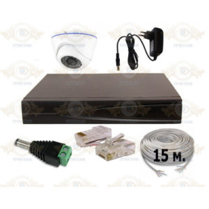 Гарантия на оборудование 2 года. Комплект IP видеонаблюдения из 1 внутренних IP камер 2 мп. и видеорегистратора, кабель UTP-15 п.м., блок питания 2А, разъемы RJ-45 2 шт. и разъем питания 1 шт.