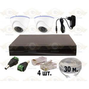 Комплект IP видеонаблюдения из 2 внутренних IP камер 2 мп. и видеорегистратора, кабель UTP-30 п.м., блок питания 2А, разъемы RJ-45 4 шт. и разъем питания 2 шт.