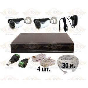 Комплект IP видеонаблюдения из 2 уличных IP камер 2 мп. и видеорегистратора, кабель UTP-30 п.м., блок питания 2А, разъемы RJ-45 4 шт. и разъем питания 2 шт.