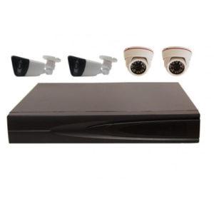 Комплект AHD видеонаблюдения из 2 внутренних + 2 уличных всепогодных AHD камер 2 мп. и 4 канальный видеорегистратор