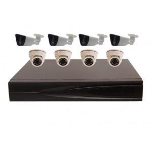 Комплект AHD видеонаблюдения из 4 внутренних + 4 уличных всепогодных AHD камер 2 мп. и 8 канальный видеорегистратор