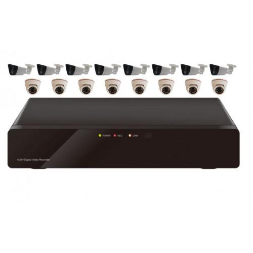 Комплект AHD видеонаблюдения из 8 внутренних + 8 уличных всепогодных AHD камер 2 мп. и 16 канальный видеорегистратор