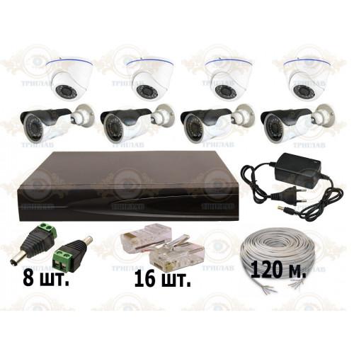Комплект IP видеонаблюдения из 4 уличных и 4 внутренних IP камер 2 мп. и видеорегистратора, кабель UTP-120 п.м., блок питания 3А, разъемы RJ-45 16 шт. и разъем питания 8 шт.