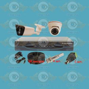 Комплект AHD видеонаблюдения из 1 внутренних + 1 уличных всепогодных AHD камер 5.0 Мп., видеорегистратора, кабель КВК-30 п.м., блок питания 2А, разъемы BNC 4 шт и разъем питания 2 шт.