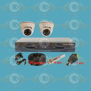 Комплект AHD видеонаблюдения из 2 внутренней AHD камеры 5.0 Мп., видеорегистратора, кабель КВК-30 п.м., блок питания 2А, разъемы BNC 4 шт и разъем питания 2 шт.