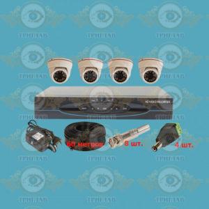 Комплект AHD видеонаблюдения из 4 внутренних AHD камер 5.0 Мп. и видеорегистратор, кабель КВК-60 п.м., блок питания 2А, разъемы BNC 8 шт и разъем питания 4 шт.