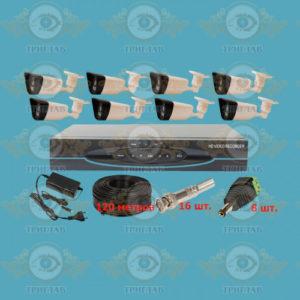 Комплект AHD видеонаблюдения из 8 уличных всепогодных AHD камер 5.0 Мп. и видеорегистратор, кабель КВК-120 п.м., блок питания 5А, разъемы BNC 16 шт и разъем питания 8 шт.