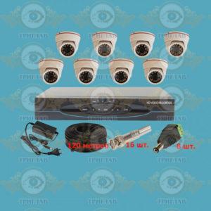 Комплект AHD видеонаблюдения из 8 внутренних AHD камер 5.0 Мп., видеорегистратор, кабель КВК-120 п.м., блок питания 5А, разъемы BNC 16 шт и разъем питания 8 шт.