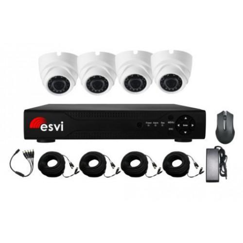 EVK-X4-DLH10B, комплект AHD видеонаблюдения на 4 купольные камеры, 720P, 2.8 мм