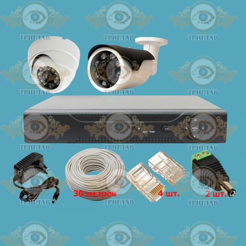 Комплект IP видеонаблюдения из 1 уличных и 1 внутренних IP камер 5.0 мп. и видеорегистратора, кабель UTP-30 п.м., блок питания 2А, разъемы RJ-45 4 шт. и разъем питания 2 шт.