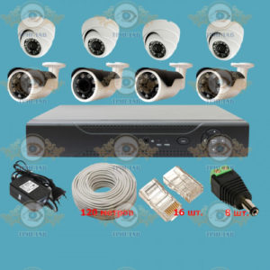 Комплект IP видеонаблюдения из 4 уличных и 4 внутренних IP камер 2.0 Мп. и видеорегистратора, кабель UTP-120 п.м., блок питания 5А, разъемы RJ-45 16 шт. и разъем питания 8 шт.