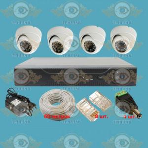 Комплект IP видеонаблюдения из 4 внутренних IP камер 5.0 Мп. и видеорегистратора, кабель UTP-60 п.м., блок питания 2А, разъемы RJ-45 8 шт. и разъем питания 4 шт.
