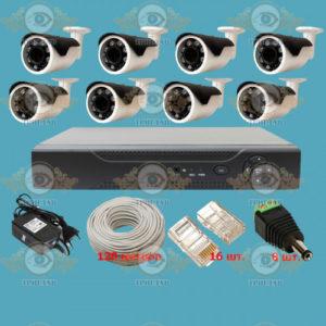 Комплект IP видеонаблюдения из 8 уличных IP камер 5.0 Мп. и видеорегистратора, кабель UTP-120 п.м., блок питания 5А, разъемы RJ-45 16 шт. и разъем питания 8 шт.