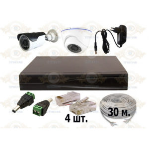 Комплект IP видеонаблюдения из 1 уличных и 1 внутренних IP камер 2 мп. и видеорегистратора, кабель UTP-60 п.м., блок питания 2А, разъемы RJ-45 8 шт. и разъем питания 4 шт.